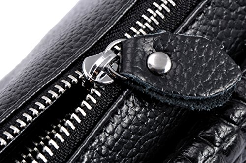 Wrist Heshe body Handbags Womens Clutches Black Ladies Satchel Pocket Shoulder for Bags let Genuine Leather Bag Cross rXUSr