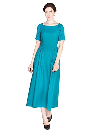 b133a885af83 D S Women s Western Cotton Turquoise Flayerd Party wear Long Maxi Dress Gown   Amazon.in  Clothing   Accessories