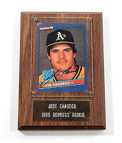 1986 Donruss Jose Canseco Signed Rookie Card On Wood Plaque Auto - Baseball Slabbed Autographed Cards