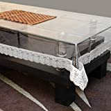 RJKART Waterproof Transparent Center Table Cover (Silver Lace)