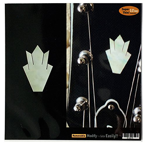 Inlay Sticker Decal Guitar Headstock In MOP Theme - 2pcs SET Closed Crown WT (Guitar Headstock Decal)