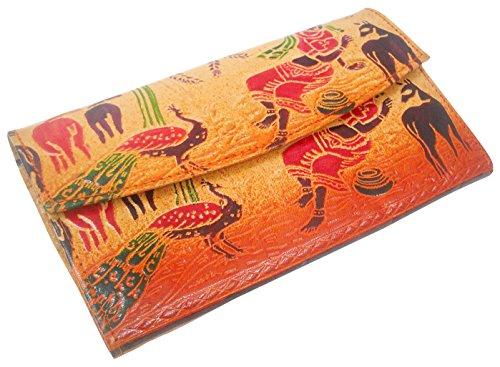 Animali della giungla, Vera Pelle 100% puro rilievo handmade Colorful Shantiniketan mano Purse