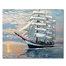 Rihe DIY Oil Painting Paint By Numbers Kits with Brushes Acrylics Painting Kits on Canvas for Adults Kids Beginner - Smooth Sailing 16x20 Inch(Wooden framed)