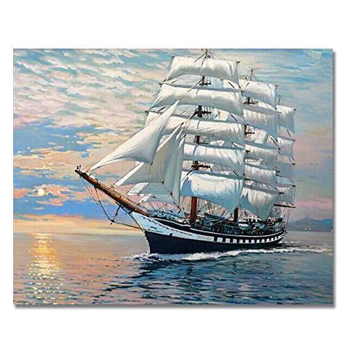 Rihe DIY Oil Painting Paint by Numbers Kits Mounted on Wood Frame with Brushes Acrylics Painting Kits on Canvas for Adults Kids Beginner - Smooth Sailing 16x20 Inch(Wooden Framed) - $28.99