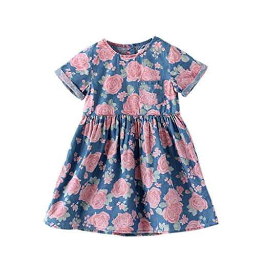 [Misaky Toddler Kids Baby Girls Flower Print Denim Princess Dresses (110CM(Age:4/5T), Blue)] (Denim Romper Costume)