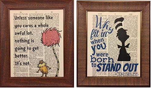 Set of 2 Dr. Seuss Dictionary Book Page Prints Artwork Print Picture Poster Home Office Bedroom Nursery Kitchen Wall Decor - ()