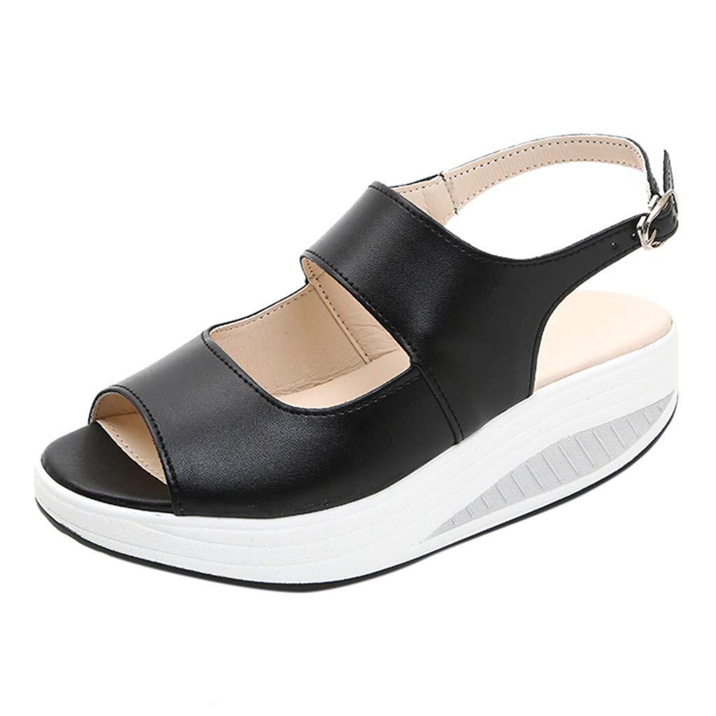 JJHAEVDY Women's Open Toe Flatform Wedge Sandals Cutout Slingback Ankle Strap Buckle Casual Sandals Comfortable Non-Slip