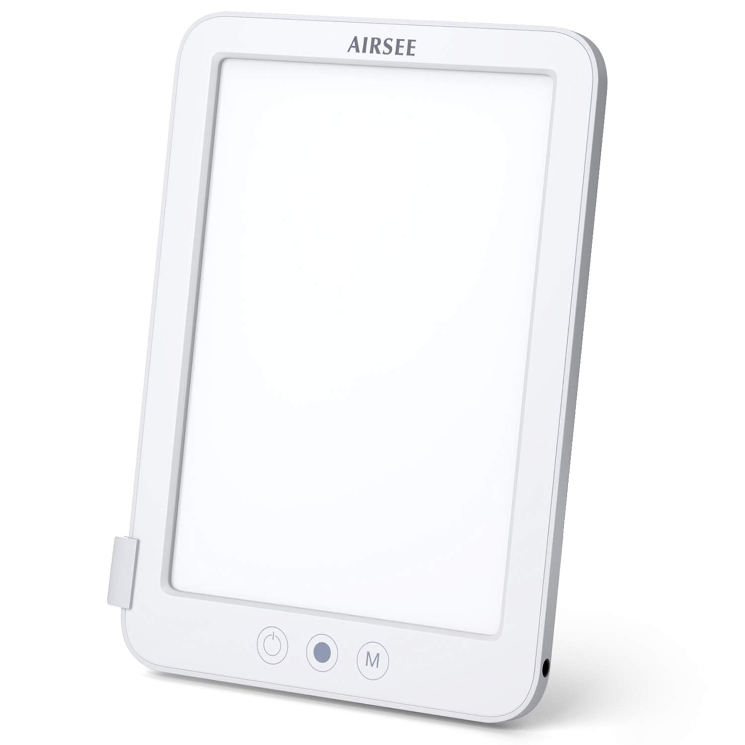 AIRSEE Light Therapy Lamp - HappyLight Lamp with 10000 lux LED and 3 Adjustable Color, Tablet Size and Brightness Controls (White)
