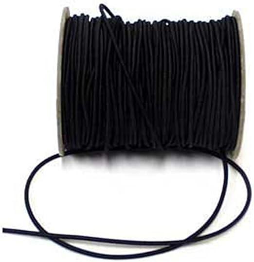 Cordel elástico redondo (2,5 mm de ancho, 5 m), color negro ...