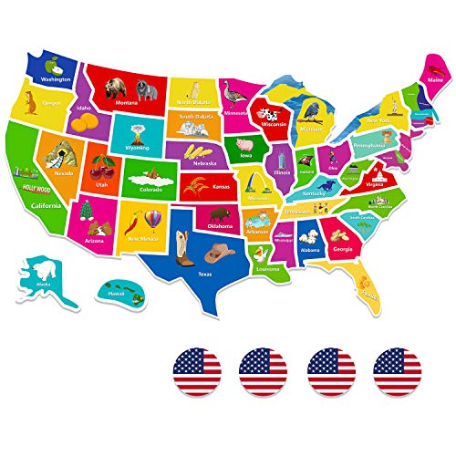 - SpriteGru 49 PCS Magnetic USA Map Puzzle Jigsaw Foam Magnets (State Magnets, Flag Buttons and Map Outline,19