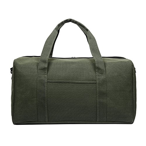 Large Canvas Luggage Tote Men's Weekender Duffle Bag Oversize Waterproof Overnight Travel Sports Supplies (Green A) For Sale