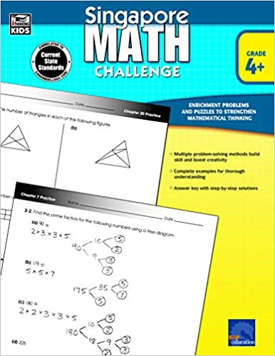 Singapore Math Challenge Workbook For 4th 5th 6th Grade