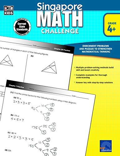 Singapore Math - Challenge Workbook for 4th, 5th, 6th Grade Math, Paperback, Ages 9-12 with Answer Key