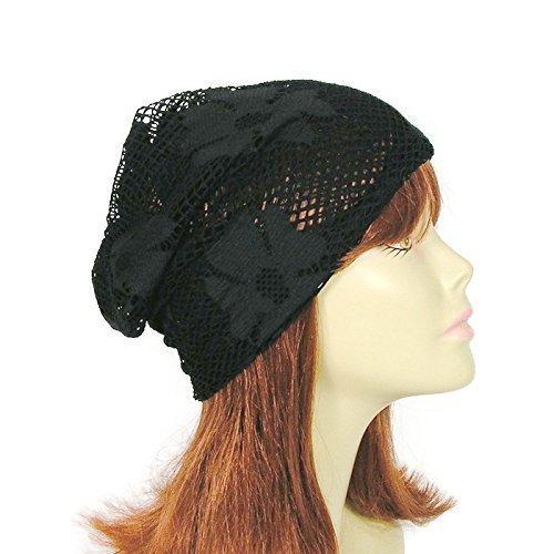 Black Net Hat Cool Summer Boho Beanie Lightweight Black Beanies Women's Slouchy Beanies