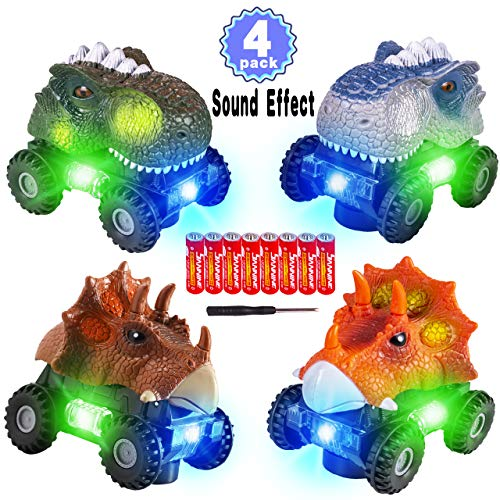 Read About 4 Pack Dinosaur Cars with LED Light & Sound Valentine's Gift Dino Car Toys Car Gifts Anim...