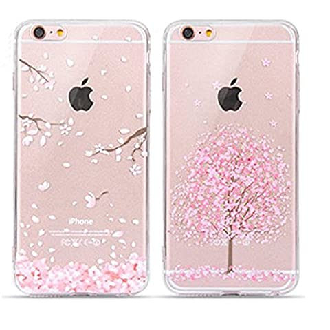 EVERMARKET(TM) 2 Pack of iPhone SE/5/5S TPU Case, Flower Floral Beautiful Pattern Soft Rubber TPU Case Cover and 1 Stylus Pen for Apple iPhone SE and 5/5S (Sakura&Sakura in Full - Iphone 5 Phone Case