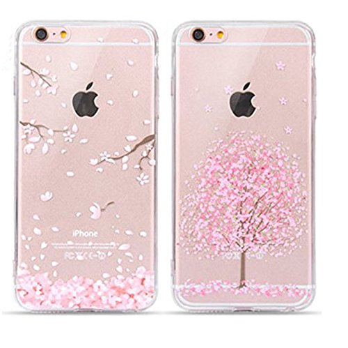 EVERMARKET(TM) 2 Pack of iPhone SE/5/5S TPU Case, Flower Floral Beautiful Pattern Soft Rubber TPU Case Cover and 1 Stylus Pen for Apple iPhone SE and 5/5S (Sakura&Sakura in Full - Stylus Case Phone Clear