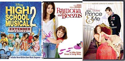 Royal Student Girl Teen 3 Pack High School Musical Disney 2 + Prince and Me & Ramona & Beezuz Sister Story Triple Feature Family Movie Bundle