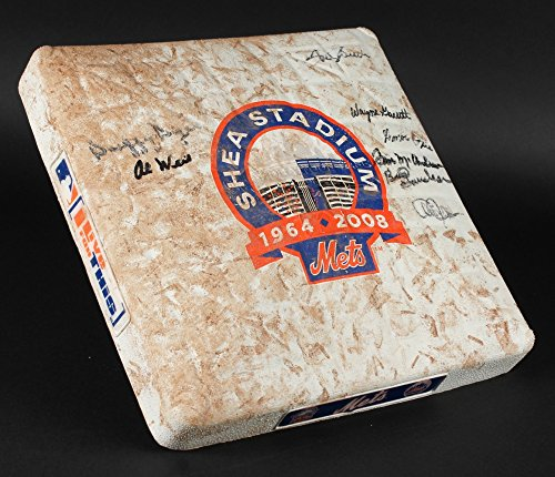 Shea Stadium Final Game - NY METS SHEA STADIUM GAME USED FINAL SEASON BASE SIGNED BY (8) HARRELSON JONES +