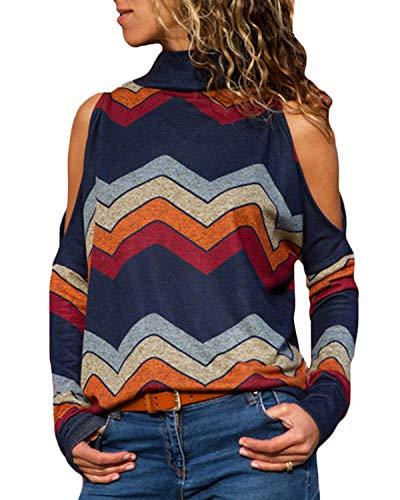(YOINS Cold Shoulder Turtleneck Top For Women Geometric Stripe Long Sleeves Casual Blouse Navy M)