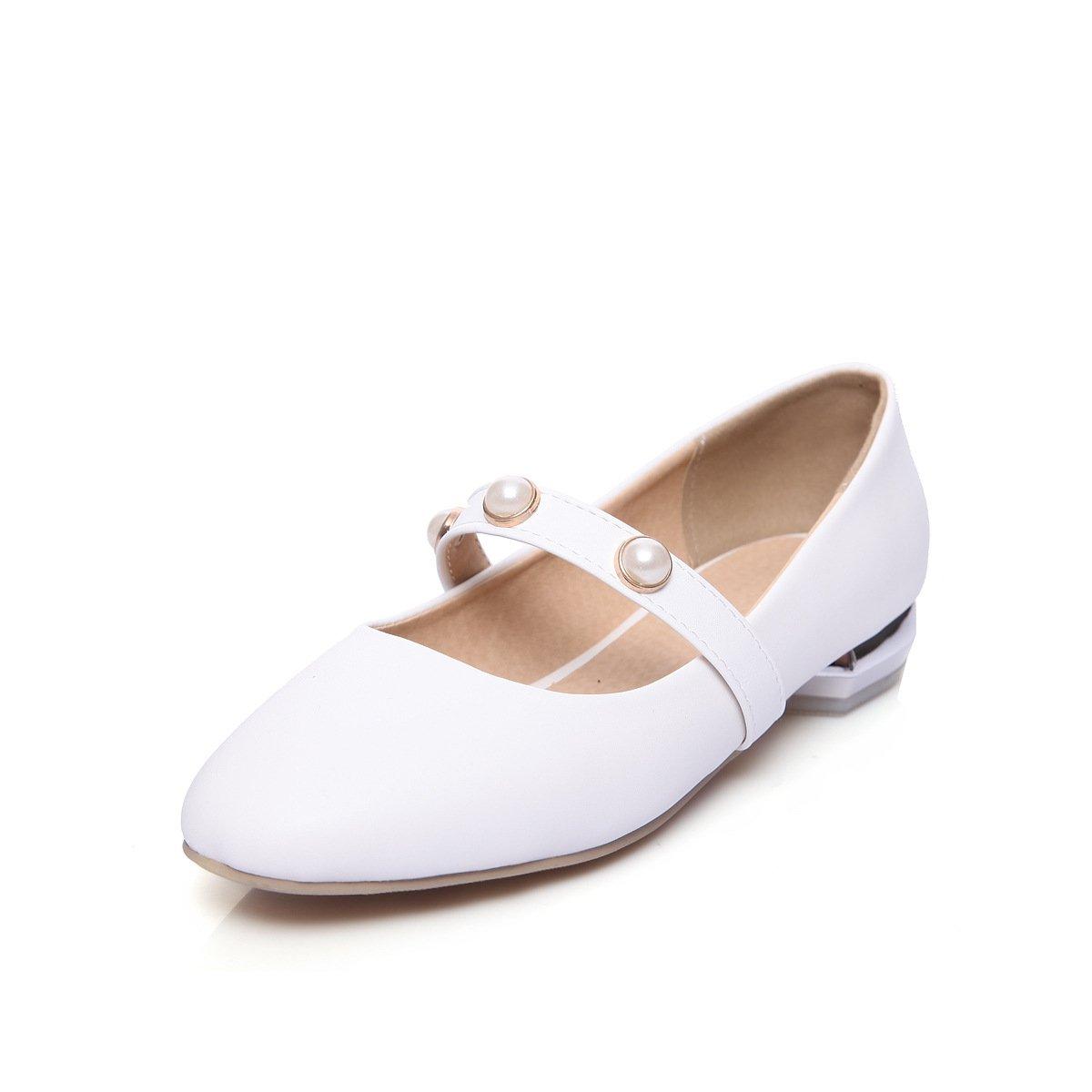 LSM-Heels MEI&S Damen Square Toe Niedrigem Absatz Flach Mund Schuhe