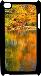 Autumn Fall Colors Reflecting In Lake Black Plastic Decorative iPod iTouch 4th Generation Case by lolosakes
