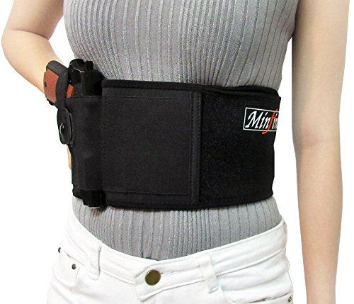 Minfine - Ambidextrous Belly Band Gun Holster Concealed Carry | Men & Women, Adjustable size | Lightweight & Breathable Neoprene Material | Fits Most Pistols S&W, Glock, Ruger LCP, Kahr, Beretta, etc