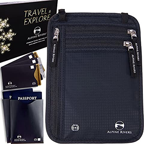 Neck Wallet Travel Pouch & Passport Holder RFID Blocking + 5 Extra Bonus Sleeves