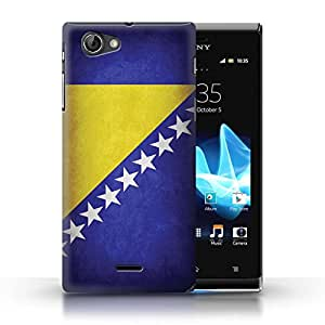 STUFF4 Phone Case / Cover for Sony Xperia J (ST26i) / Bosnia & Herzegovina Design / Flags Collection