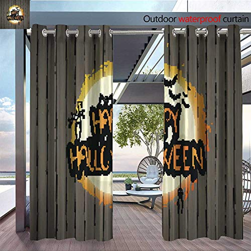 Fashions Drape Happy Halloween Design on Wooden Background Vector Background Outdoor Curtain Waterproof Rustproof Grommet Drape W72 x -