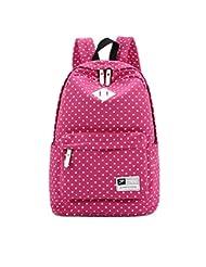Fansela(TM) Casual Cute Polka Dot Canvas Laptop Bag School Backpack For Teenage Girls