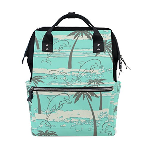 ALIREA Palms And Dolphins Diaper Bag Backpack, Large Capacit