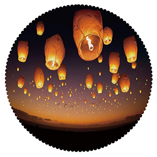 iPrint No Chemical Odor Round Tablecloth [ Night Sky,Asian Ceremony Wish for Luck Balloons Chinese Flying Lanterns Scenery Image,Orange and Black ] Decorative Tablecloth Ideas