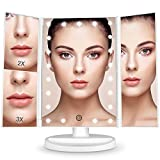 #3: BESTOPE Makeup Vanity Mirror with 21 LED Lights, 3X/2X Magnifying Led Makeup Mirror with Touch Screen,Dual Power Supply,180° Adjustable Rotation,Countertop Cosmetic Mirror