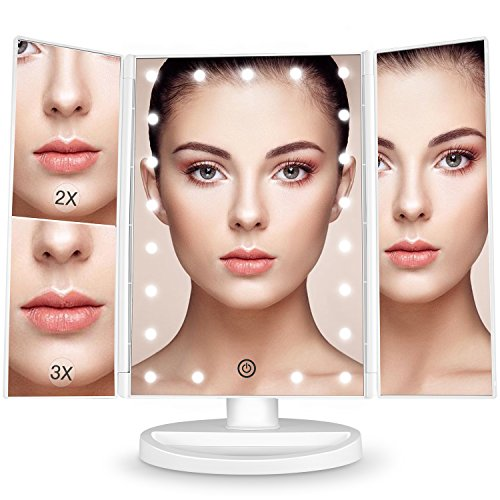 Bestope Makeup Vanity Mirror with 3x/2x Magnification,Trifold Mirror with 21 Led Lights,Touch Screen, 180° Adjustable Rotation,Dual Power Supply, Countertop Cosmetic Mirror (Dual Light Bathroom)