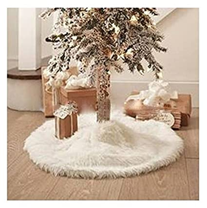 laza 31 inch christmas tree skirt plush flaux fur with round trim for christmas holiday