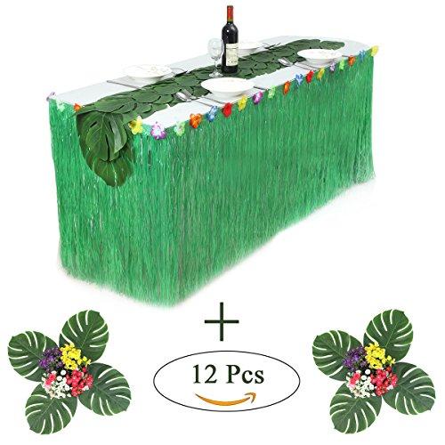 HBBMagic Hawaiian Luau Table Skirt With 12 Pcs Artificial Tropical Palm (Luau Table Covers)