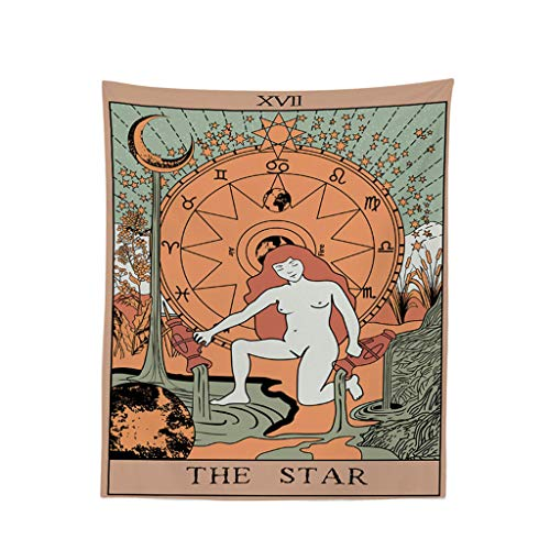 Geetobby Tapestry The Sun, The Moon and The Star - Bohemian Cotton Printed Hand Made Wall Hanging Tapestries