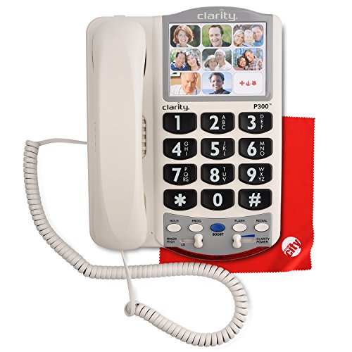 Clarity P300 Picture ID Mild Hearing Loss Amplified Corded Phone with Circuit City Microfiber Cleaning Cloth (Picture Phone Dial)