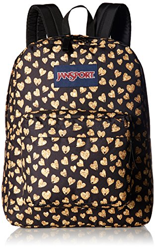 JanSport Superbreak Backpack- Sale Colors (Glitter Hearts) – DiZiSports Store
