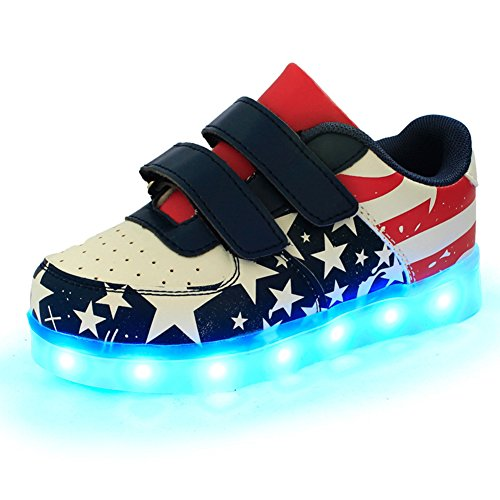Price comparison product image Kaifei LED Sports Shoes USA Flag USB Light up Sneakers for Kids Boys Girls (31/12.5 M US Little Kid, Blue)