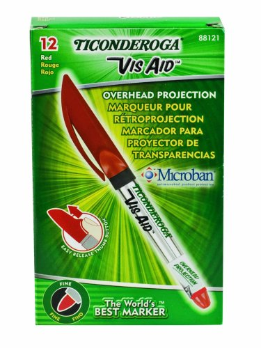 ticonderoga-vis-aid-overhead-projection-markers-fine-point-red-one-dozen-88121