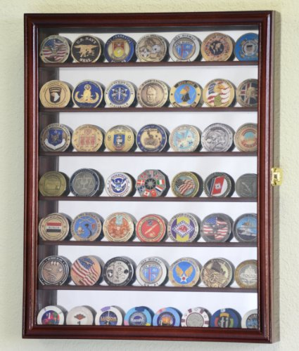 Mirrored Back Military Challenge Coin Display Case Cabinet Holders Rack w UV Protection Cherry Finished