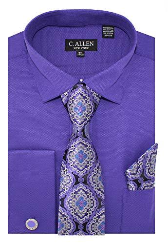 C. Allen Men's Solid Micro Pattern Regular Fit Dress Shirts with Tie Hanky Cufflinks Combo Plum