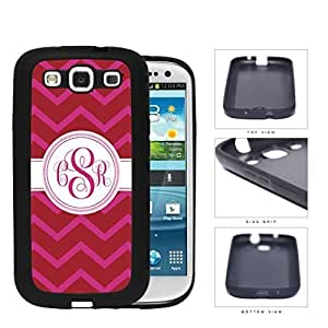 Red And Pink Chevron Monogram (Custom Initials) Rubber Silicone TPU Cell Phone Case Samsung Galaxy S3 SIII I9300