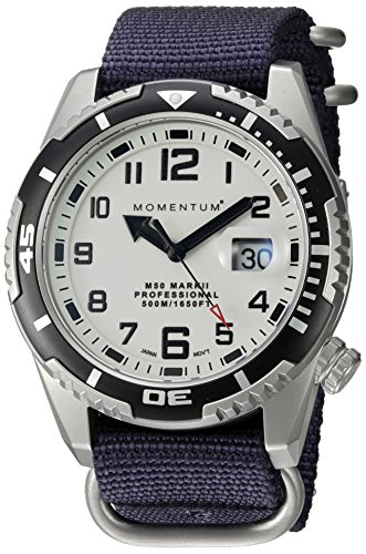 Momentum Men's 'M50 Mark II' Quartz Stainless Steel and Nylon Diving Watch, Color:Blue (Model: 1M-DV52L7U)