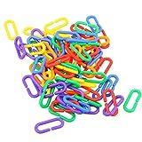 100Pcs Parrot C-Clip Toy Bird Plastic C-Link Hook Parrot Hook Link Chain Toy