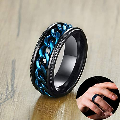 Mens Black Rings | with Blue Center Curb Chain Spinner Ring | Stainless Steel Wedding Male Jewelry | 8mm