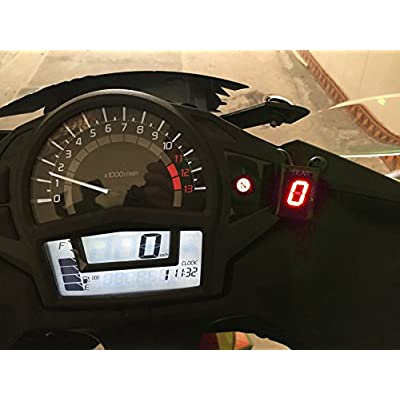 IDEA Waterproof Motorcycle Gear Indicator Green LED Display for Yamaha (Red): Automotive