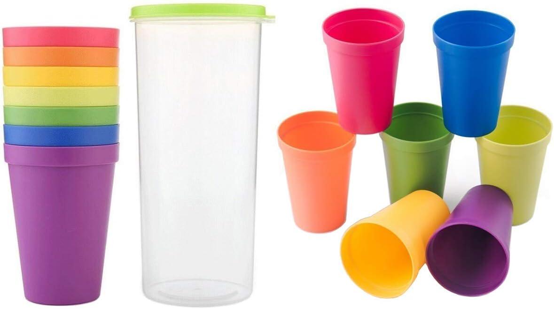 Unbreakable Reusable Plastic Cups, Rainbow Travel Beverage Tumblers, Juice Drinkware, Set of 8